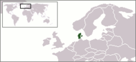 A map showing the location of Denmark