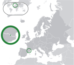 Location of  Andorra  (center of green circle) on the European continent  (dark grey)  —  [Legend]