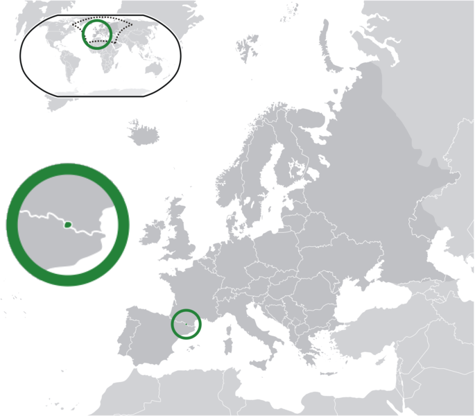 Map detailing the location of Andorra (dark green) within Europe (dark grey) by Bosonic dressing.