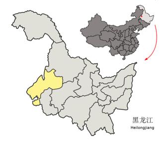 Fularji District - Image: Location of Qiqihar Prefecture within Heilongjiang (China)