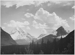 "Looking across forest to mountains and clouds, ""In Glacier National Park,"" Montana., 1933 - 1942 - NARA - 519863.tif"