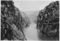 Looking upstream through Black Canyon toward Hoover Damsite. View showing condition of canyon prior to inauguration... - NARA - 293792.tiff