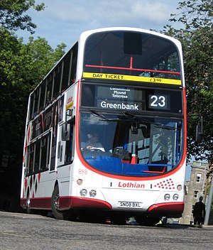 Lothian Buses - Wright Eclipse Gemini bodied Volvo B9TL on route 23 on the corner of Market Street and The Mound in June 2010