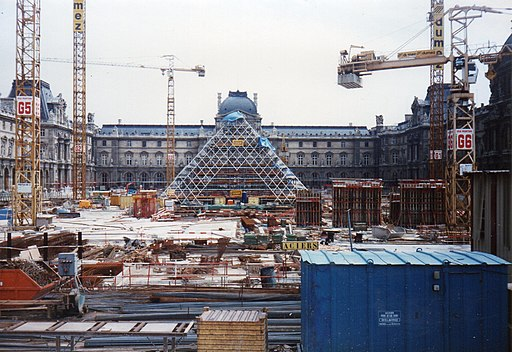 Louvre Pyramid construction 1987