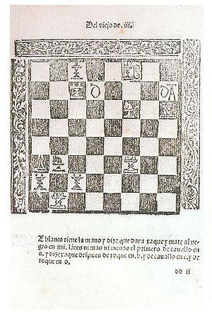 A tactical puzzle from Lucena's 1497 book Lucena1497.jpg