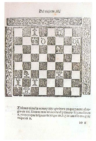 Chess theory - Early printed work on chess theory by Luis Ramirez de Lucena c. 1497