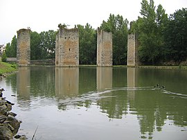 The remains of the bridge of the Château de Lussac-Les-Châteaux