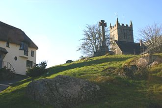Lustleigh - View of Lustleigh Church, the Celtic Cross and Primrose Tea Rooms from Wreyland