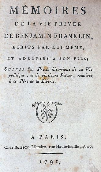 The Autobiography of Benjamin Franklin - Title page of the original edition of the autobiography in French.