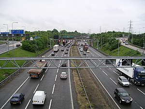 Active traffic management - The gantries over the M42 show the variable speed limit in operation