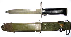 The M6 Bayonet with scabbard; Used on M14