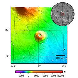 Topografisk kort over Albor Tholus