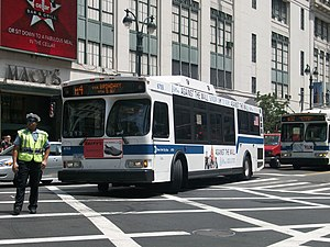Fifth and Madison Avenues Line - A M4 bus in Midtown Manhattan.