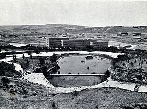 Kiryat HaMemshala - Israel government ministries and garden under construction, 1950s