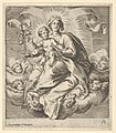 Madonna holding a lily branch with the Christ Child on her lap, seated on clouds, surrounded by cherub heads MET DP836922.jpg
