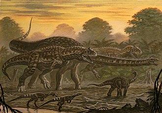 Rapetosaurus - Restoration of two Majungasaurus chasing Rapetosaurus