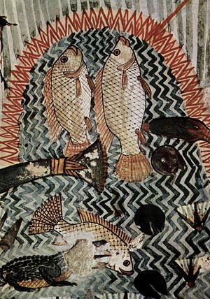 Nilotic landscape - Detail of Fish Swimming into Menna's spear. From the Tomb of Menna, painted plaster, first half of the 14th century BC, Thebes