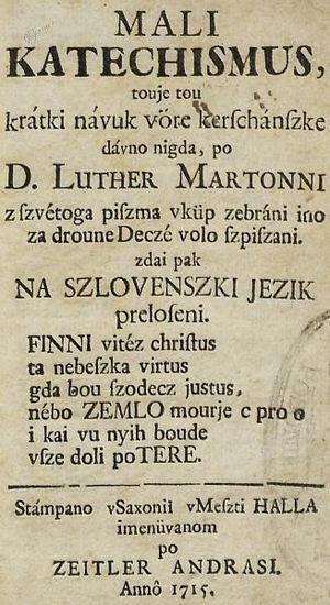 Prekmurje Slovene - Image: Mali katechismus (1715)