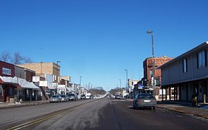 Manawa, Wisconsin - Looking north at downtown Manawa on WIS22 and WIS 110, this is located on Bridge Street also known as Main Street.