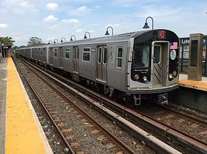 L (New York City Subway service) - A train made of R160 cars in L service at New Lots Avenue, bound for Manhattan