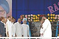 Manmohan Singh laying foundation stone by unveiling the plaque for the expansion of Visakhapatnam Steel Plant in Andhra Pradesh. The Chief minister of Andhra Pradesh Dr. Y. S. Rajasekhara Reddy is also seen.jpg