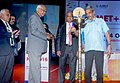 """Manohar Parrikar lighting the lamp to inaugurating the international conference on the """"MET-2016, emerging materials for Defence and Infrastructure' 12th HTS-2016, the world of advanced Heat Processing"""", in Mumbai.jpg"""