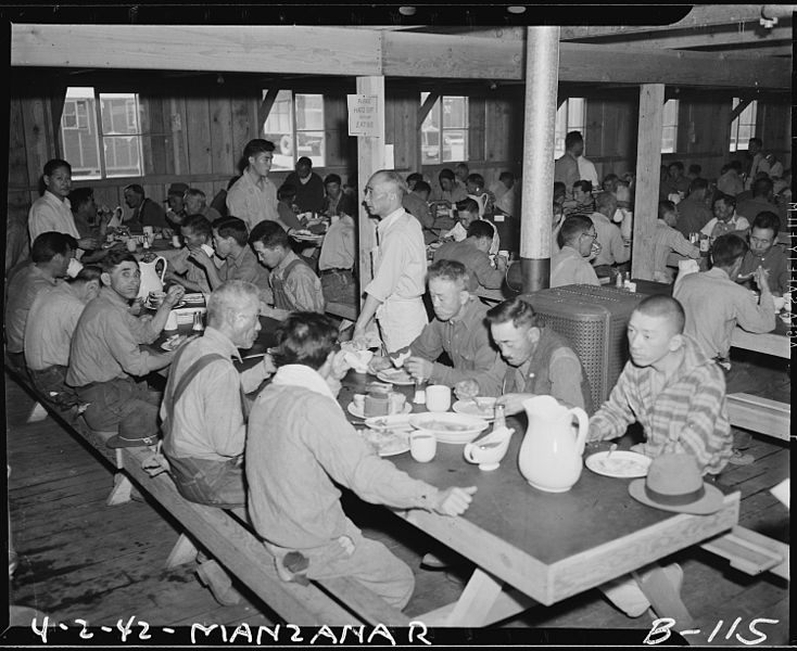 File:Manzanar Relocation Center, Manzanar, California. Mealtime at Manzanar, a War Relocation Authority . . . - NARA - 536863.jpg