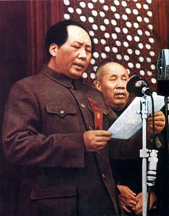 1st National Congress of the Communist Party of China - Of the 13 delegates who attended the congress in 1921, Mao Zedong and Dong Biwu were the only two to also be present at the proclamation ceremony of the PRC in 1949 (pictured)