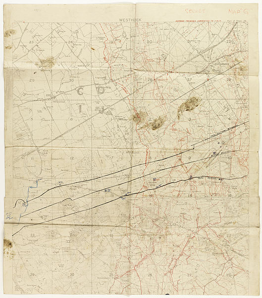 Muddy map showing German lines as of 1 September 1917. Hand-drawn on map is the evacuation lines for wounded soldiers.  Part of - Papers relating to 5th Australian Field Ambulance Australian Imperial Force  Tasmanian Archives and Heritage Office: W.L. Crowther Library  Images from the TAHO collection that are part of The Commons have 'no known copyright restrictions', which means TAHO is unaware of any current copyright restrictions on these works. This can be because the term of copyright for these works may have expired or that the copyright was held and waived by TAHO. The material may be freely used provided TAHO is acknowledged; however TAHO does not endorse any inappropriate or derogatory use.
