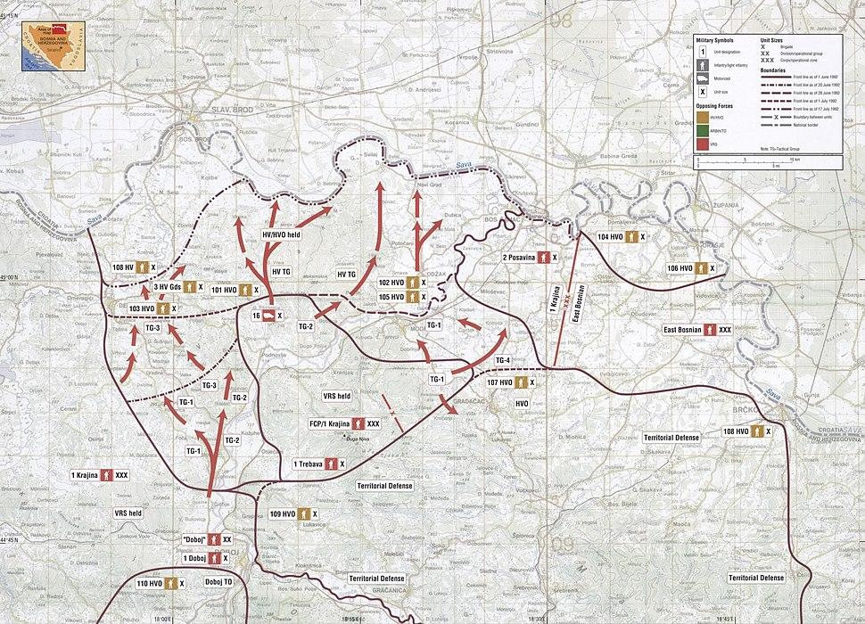 Map 10 - Bosnia - Posavina Corridor - June-July 1992