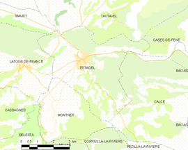 Mapa obce Estagel