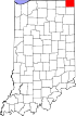 State map highlighting Steuben County