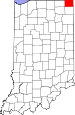 Map of Indiana highlighting Steuben County.svg