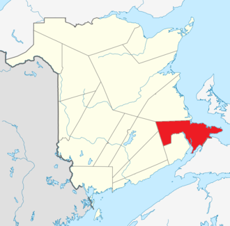 Westmorland County, New Brunswick - Image: Map of New Brunswick highlighting Westmorland County