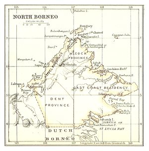 North Borneo - Map of North Borneo from British Library, 1888.