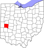 Map of Ohio highlighting Miami County