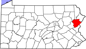 Map of Pennsylvania highlighting Monroe County