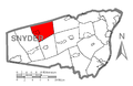 Map of Snyder County, Pennsylvania Highlighting Adams Township.PNG