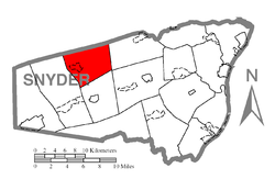 Map of Snyder County, Pennsylvania highlighting Adams Township
