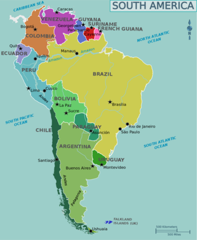 Map Of Sourth America Languages of South America   Wikiversity