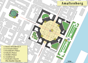 Moltke's Palace - Map of Amalienborg (Frederik's Church is also shown)