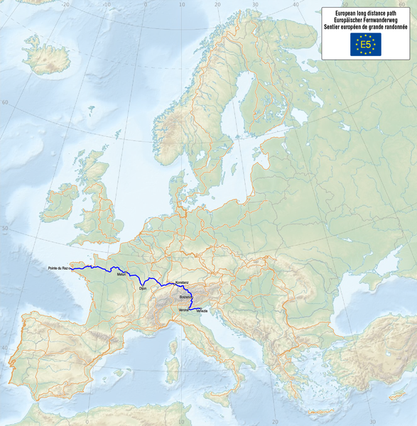 Tiedosto:Map of the European Long Distance Path E5.png
