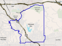 Map of the Hollywood Hills neighborhood of Los Angeles, as delineated by the Los Angeles Times