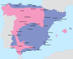 Map of the Spanish Civil War in September 1936