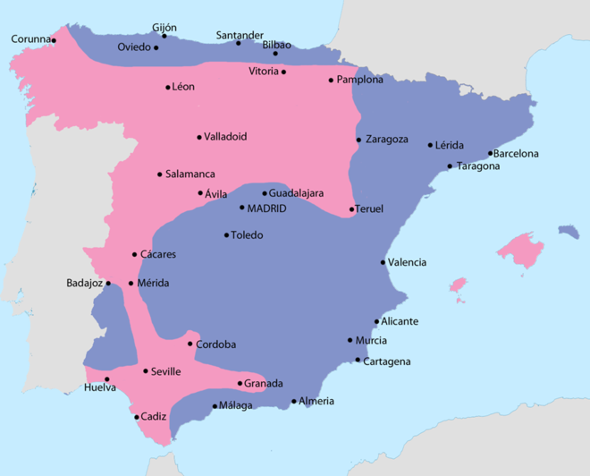 Map showing Spain in September 1936: