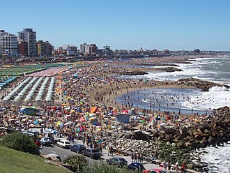 Mar del Plata - One of the beaches of Mar del Plata during summer tourism season