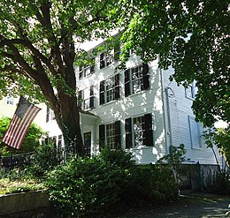 Marblehead Massachusetts house and tree with flag