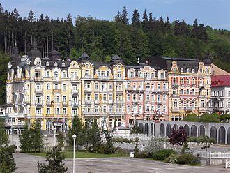 Mariánské Lázně - Typical buildings in the town centre.