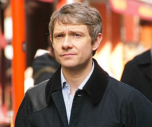 Chinatown, London. Martin Freeman during filmi...