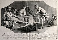 Martyrdom of Paul Erizzo. Line engraving by A. Zucchi after Wellcome V0033618.jpg